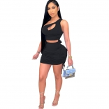Black Sleeveless Halter Pleating 2PCS Women Sexy Bodycon Dres