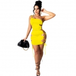 Yellow Sleeveless Single Shoulder Sling Hollow-out Clubwear