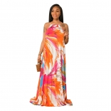 Red Halter Sleeveless Printed Fashion Women Maxi Dress