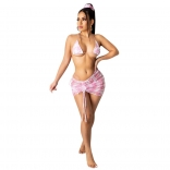 Pink Sexy Women Printed 4PCS Swimwear Sets