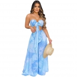 Blue Off-Shoulder V-Neck 2PCS Printed Jumpsuit Sets