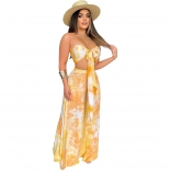 Yellow Off-Shoulder V-Neck 2PCS Printed Jumpsuit Sets